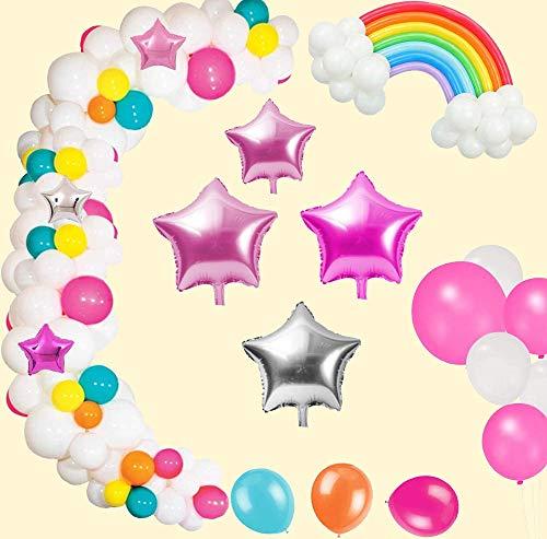 AYUQI Luftballon Girlande Weiß Blau Rosa Pink Gelb 99 Stück Helium Latex Ballons Girlande Set mit Blumen Regenböge und Sternballons für Kinder Mädchen Geburtstag Babyparty Hochzeit Taufe Party Deko
