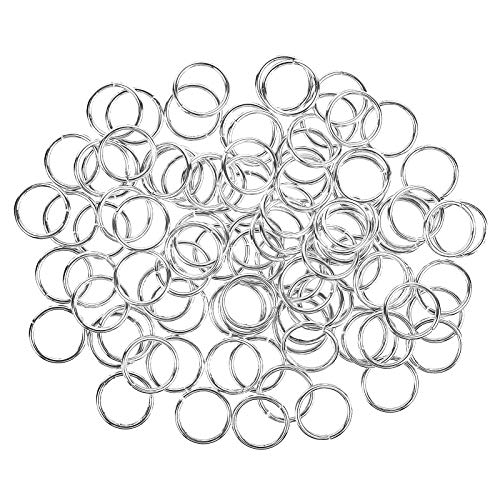 HUIHUIBAO 100 Pieces 10mm Open Jump Ring Metal Split Rings for Jewelry and Crafts Making Wind Chimes Costuming Ornaments (Silver)