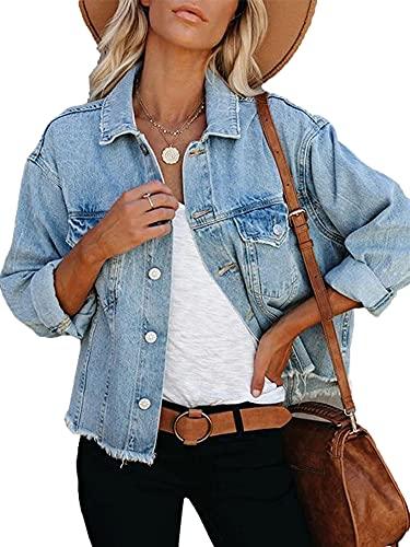 Eghunooye Damen Jeansjacke Reverskragen Kurz Lässig Denim Jacket mit Knöpfen Stretch Jacke Sommer Frühling Mantel Coat Outwear S M L XL XXL (Hellblau A, S)