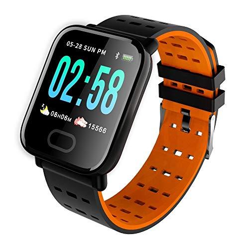 FUNSHINNY Pantalla de Color IPS de 1.3 Pulgadas Reloj Inteligente IP67 Rastreadores de Fitness Impermeables, Mensaje de Soporte/Monitor de Ritmo cardíaco/Monitoreo de oxígeno en la Sangre/Monito