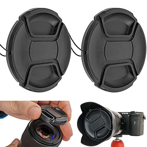 Kamera Objektiv Ersatz Deckel, 2 Pack, mit Ø 55 mm Durchmesser, in schwarz, mit Bandschlaufe, kompatibel mit Objektiven von z.B. Nikon, Canon, Sony, Ersatzkappe, Objektivdeckel, 2 x 52 mm Schutzdeckel