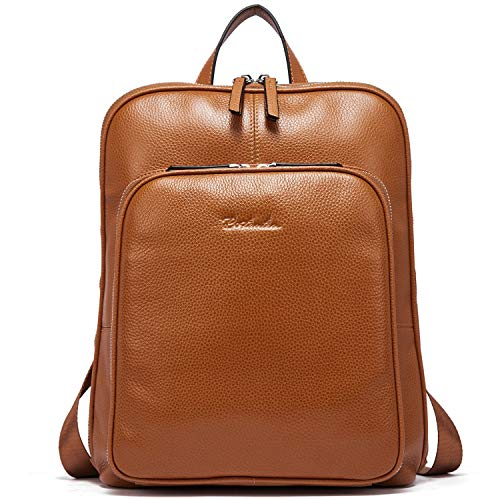 BOSTANTEN Women Genuine Leather Backpack Ladies Rucksack Casual College Daypack Satchel for Girls Brown