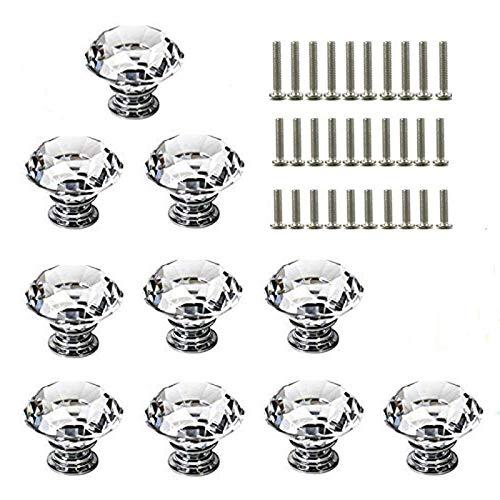 Tiradores de cristal para puerta con tornillos, 10 unidades