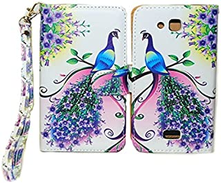 Purple & Pink Peacock Design Wallet Leather Case for Kyocera Hydro Wave C6740 with Kickstand