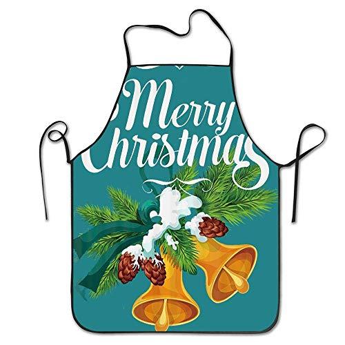 Not Applicable Taille Golden Jingle Bell auf Tannenzweig mit Kegel bedeckt mit Schnee Schürze Unisex Küchenschürze zum Kochen Backen Garten Reinigung