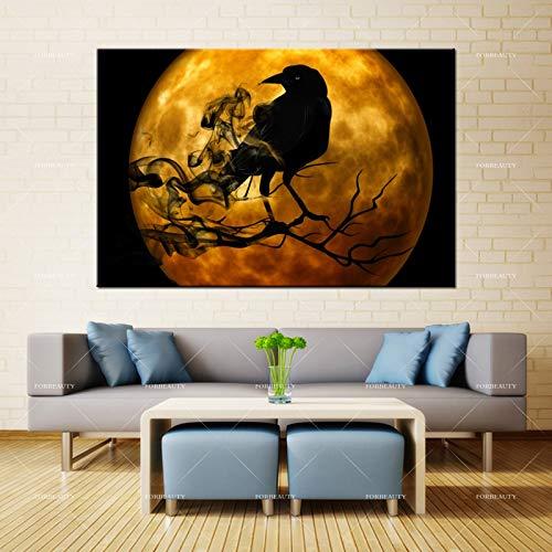 Puzzle 1000 piezas Pintura de la decoración del aerosol del cuervo de la luna de Halloween puzzle 1000 piezas paisajes Rompecabezas de juguete de descompresión intelectual Gra50x75cm(20x30inch)