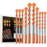 10Pcs Ultimate Drill Bits, Multifunctional Drill Bits, Ultimate Punching Drill Bit for Concrete, Tile, Glass, Ceramic, Brick, Wood and Plastic, Bits for Power Drills, 6/8/10/12mm (Orange)