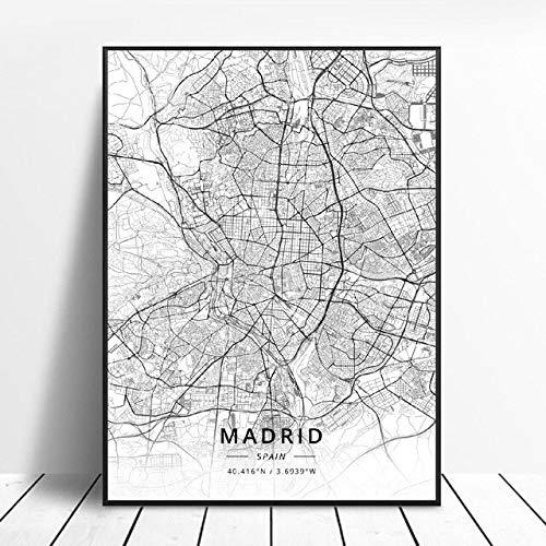 shuimanjinshan Elche Pamplona Vitoria-Gasteiz Madrid Albacete Santander Oviedo España Lienzo Arte Mapa Cartel 50X70Cm No Frame W-90