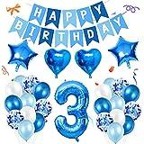 Amycute 3er Decoraciones de Cumpleaños Globos, Feliz Cumpleaños Globos 3 Años Azul, Globos Número 3 Digitales Gigante del Papel de Aluminio, Globos de Confeti de Latex para Fiestas Niños