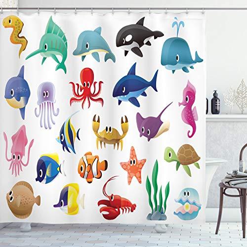 Ambesonne Whale Shower Curtain, Variety of Marine Organisms Stingray Squid Sea Star Seahorse Sailfish Lobster Artwork, Cloth Fabric Bathroom Decor Set with Hooks, 75' Long, White Multicolor