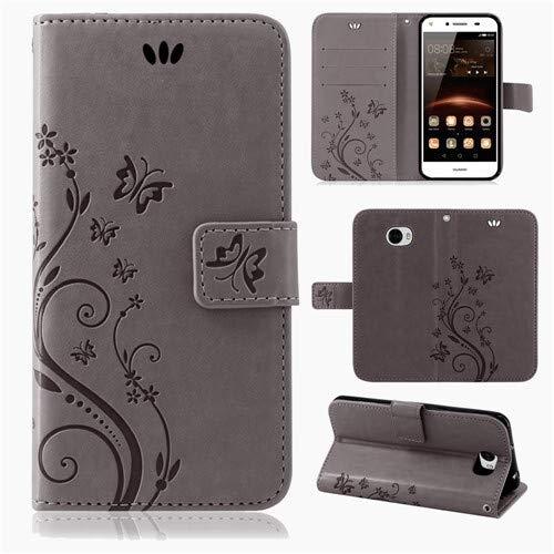 betterfon | Flower Case Handytasche Schutzhülle Blumen Klapptasche Handyhülle Handy Schale für Huawei Y6 II Compact Grau