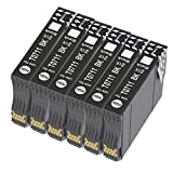 Bada T0715 - Cartucho de tinta compatible con Epson T0711, T0712, T0713, T0714, con Epson Stylus SX218 SX200 SX415 SX400 SX215 SX210 SX215 SX218 DX4050 DX4400 SX100 SX105 SX110 SX115 (6), color negro