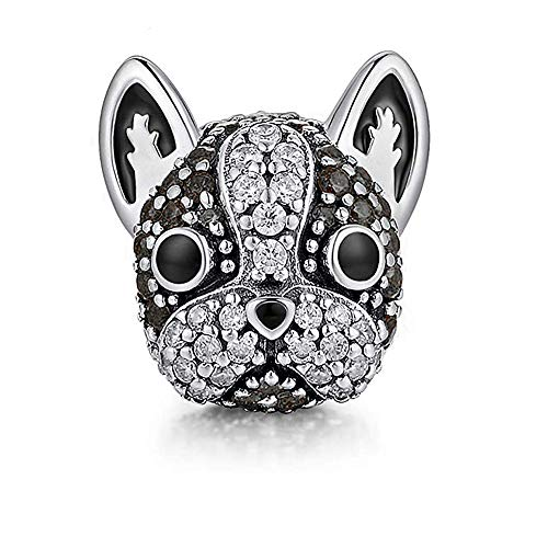 Ginger Lyne Collection French Bulldog Frenchie Boston Terrier Brown or Black Dog Charm for Bracelet or Necklace Paw Print Jewelry Women Girls Round European Bead Sterling Silver CZ Cubic Zirconia