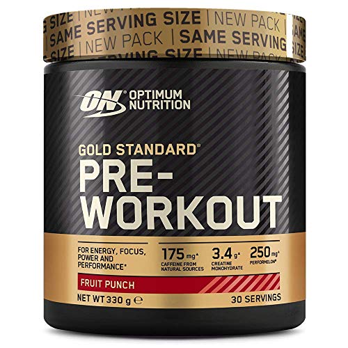 Optimum Nutrition Gold Standard Pre Workout Powder, Energy Drink with Creatine Monohydrate, Beta Alanine, Caffeine and Vitamin B Complex, Fruit Punch, 30 Servings, 330 g, Packaging May Vary
