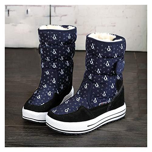 WXFXBKJ Botas de nieve para mujer, botas de invierno para mujer, zapatos de mujer, de moda, cálidos, gruesos, hebilla, estilo grande, tallas 34 a 41 (color: B009navy, talla de zapato: 40)