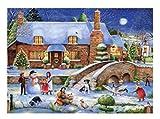 N\A Puzzles 1000 Piezas de Rompecabezas para Adultos y niños. Una Familia Haciendo muñecos de Nieve Fuera de la casa. Regalos educativos Hechos a Mano.