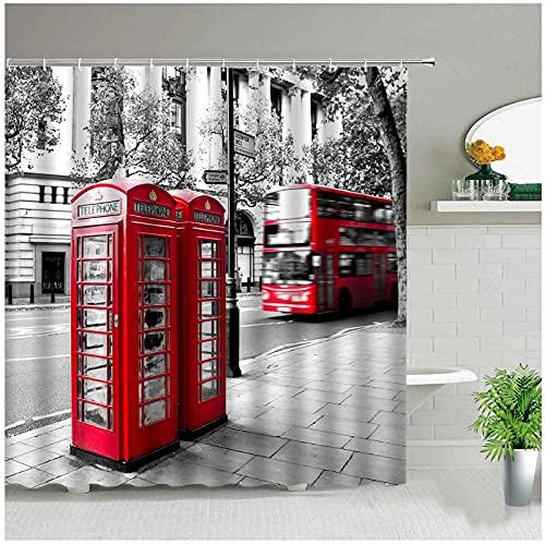 Juego de Cortinas de Ducha de baño Retro con Cabina de teléfono roja clásica de Londres, Cortinas de Tela Impermeables, Arte de Moda, bañera, decoración del hogar-180x180cm