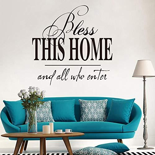 Segne dieses Haus und alle, die eintreten Zitat Wandaufkleber Esszimmer Schlafzimmer Gott Religion Bete Zitat Wandtattoo Vinyl Home Decor