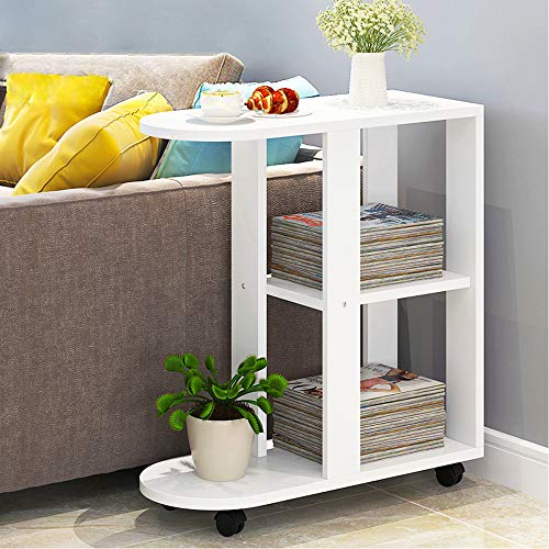 QIHANG-UK Mobile Sofa Side Table for Small Spaces, Wood Rolling White End Table with Wheels, Open Shelves for Bedroom, Living Room, Office