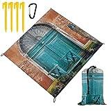 WINCAN Manta de Picnic 145x150cm,Edificio Antiguo de Venecia con Puerta de Entrada Antigua Ciudad sobre Agua Histórico Urbano,Mantas de Playa al Aire Libre Impermeable Impermeable Estera