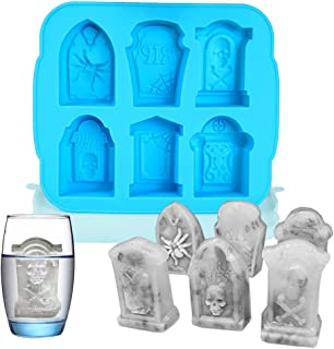 6 Grid 3D Tombstone Silicone Mold Halloween Skull Spider Gravestone RIP Mould Candy Fondant Mousse Cake Chocolate Popsicle...