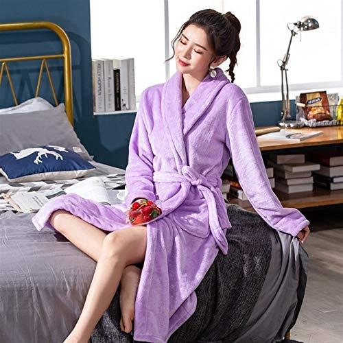 GladyStore Frauen-Roben, Frauen Shops, Schlafanzüge,Frauen Plüsch Fleece Bademäntel, Weiche Spa Warm Sleepwearrobe Damen Fleece-Kleid Kimono...