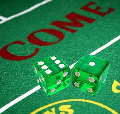 Cyber-Deals Las Vegas Style Felt Craps Layout with Set 5 Transparent 19mm Dice (Green)