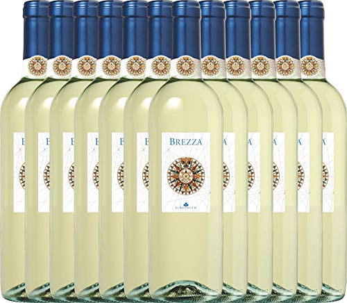 VINELLO 12er Weinpaket Weißwein - Brezza Bianco 2019 - Lungarotti mit Weinausgießer | trockener Weißwein | italienischer Sommerwein aus Umbrien | 12 x 0,75 Liter