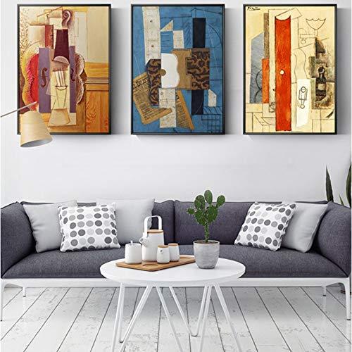 adgkitb canvas Welt Malerei Picasso Gitarre Abstrakte Leinwand Malerei Kunst Wandbilder Für Wohnzimmer Mode HD Dekoration 50x70 cm x 3 KEIN Rahmen