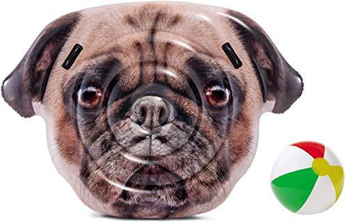 Aufblasbare Luftmatratze XL Matratze Badematratze Schwimmmatratze Hund Dog Mops Badeinsel Grün Luftmatratzen Motiv für Wasserspielzeug, Strand, Kinder, Sonnen, Pool , Erwachsene Meer Deko