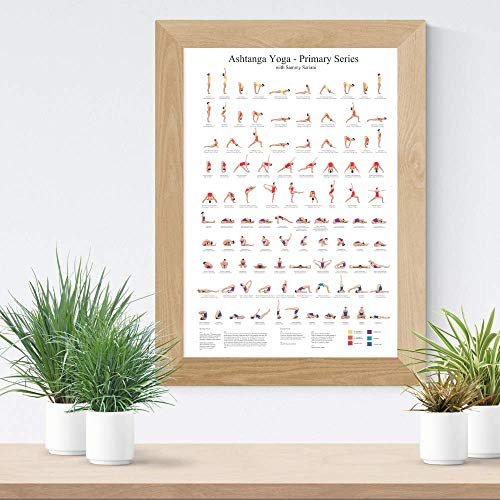 Ashtanga Primary Series Practice Chart| Yoga Poses Poster| 24x36 inch |Sequence of Asanas | Essential Yoga Chart |Cool Eclectic Colorful Wall Decor| Infographic Art Print
