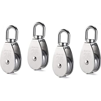 Rocaris 6 Pack M32 Lifting Single Pulley Roller Loading 551Ibs 304 Stainless Steel Heavy Duty Single Wheel Swivel Lifting Rope Pulley Block