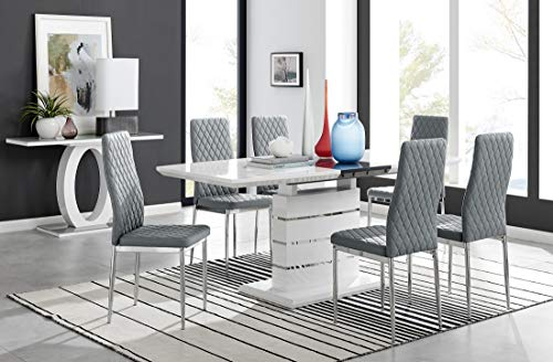 Furniturebox UK Renato Modern White Grey High Gloss Chrome Large Extending Dining Table And 6 8 Stylish Contemporary Milan Dining Kitchen Chairs Set (Table + 6 Grey Milan, Table + 6 Dining Chairs)