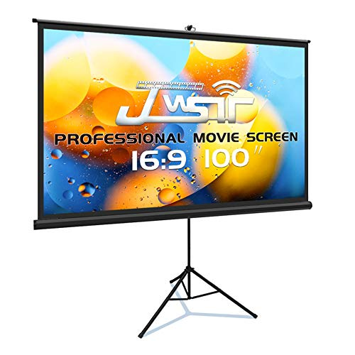 Projector Screen with Stand, Premium 3 Layers 100 inch 16:9 HD 4K, Portable Indoor Outdoor Movie Screen, Wrinkle Free Pull Up Projector Screen with Stand for Home Theater Office School