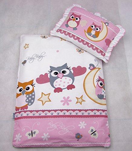 Rawstyle 4 tlg. Set Bezug für Kinderwagen *EULEN-MOTIV* Garnitur Bettwäsche Decke + Kissen + Füllung (Eulen Rosa/Pink)