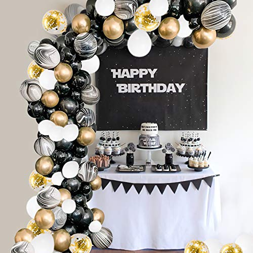 Balloon Arch Kit Black Gold White Marble 100 pcs Helium Balloons Confetti Metallic Latex Balloon Garland Kit with 16ft Tape Glue Dots for Birthday Wedding Engagement Anniversary Hen Party Supplies