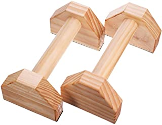 Inch Wooden Parallettes - Push Up Bar Stands Non-Slip, Best for L Sits, Jump Throughs, Handstand Pushups and Calisthenics ...