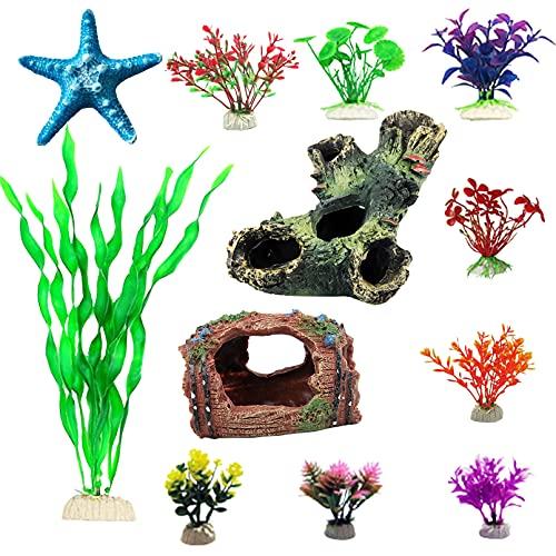 kathson 12 Pack Aquarium Decorations Fish Tank Ornaments Resin Tree Trunk Barrel Wood Cave Starfish Artificial Plastic Aquatic Plants Decor Hideouts Small Accessories