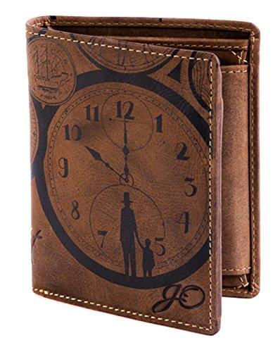 Geldbörse Leder Braun Uhr Motiv ZeitVergeht - Geldbeutel naturbelassen Hochformat 10 x 12,5 x 2,5 cm Joriginal
