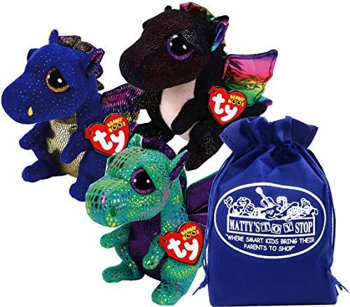 Ty Beanie Boos 'Dragons Saffire (Blue Dragon), Cinder (Green Dragon) & Anora (Black Dragon) Gift Set Bundle with Bonus Matty's Toy Stop Storage Bag - 3 Pack