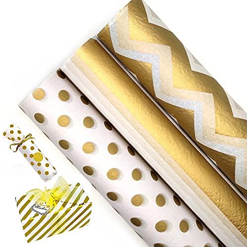 45 hojas de papel de regalo metálico dorado,Papel de Seda de Envolver Regalo Papel...