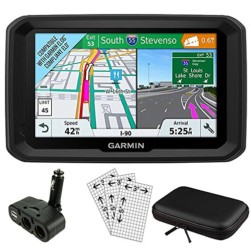 "Garmin 5"" GPS Navigator for Trucks & Long Haul (010-01858-02) with Dual Electronic Car Socket Cigarette Lighter USB Ports, 3 Pcs Digital Camera & Camcorder Screen Protectors & 7"" Tablet Case"