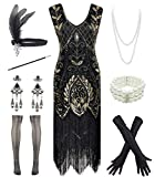Women 1920S V Neck Sequined Beaded Gatsby Flapper Dress with 20s Accessories Set (XXL, Style Flora Black Gold) (Apparel)