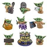 BESTZY Baby Yoda Cake Topper Star Wars Figuras Cupcakes Topper Decoración para Tartas Yoda Niños de Cumpleaños Decoración Regalo Figure en Miniatura Modelo 8 Piezas