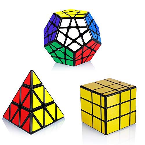 Maomaoyu Cubo Magico de la Velocidad Set, Cubo Pyraminx Piramide +Megaminx Speed Cube+Mirror Cube Golden Caja de Regalo de 3 Piezas Set Negro