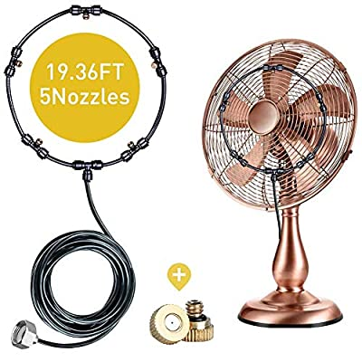 Shinea Outdoor Misting Fan Kit For Water Misting Cooling System Misters For Outside Patio.Including 19.36FT (5.9M) Mister Fan Line and 5 Brass Mist Nozzles and A Brass Adapter .Fan Mister For Cooling Outdoor Patios