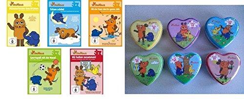 Die Maus / Sendung mit der Maus - 6 Herzpuzzles (6 x 77 Teile) + 5 DVDs (DVD 1-5) im Set - Deutsche Originalware [5 DVDs]