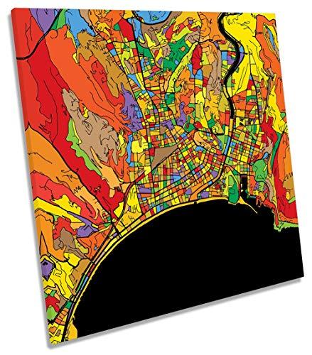 Canvas Geeks Lienzo Decorativo con diseño de Mapa de la Ciudad de Francia, 60cm Wide x 60cm High