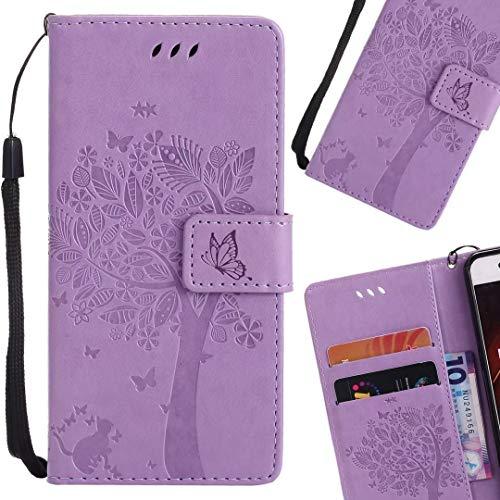 LEMORRY Handyhülle für Huawei Mate 10 Pro Hülle Tasche Ledertasche Flip Beutel Slim Schutz Magnetisch SchutzHülle Weich Silikon Cover Schale für Huawei Mate 10 Pro, Glücklicher Baum (Helles Lila)