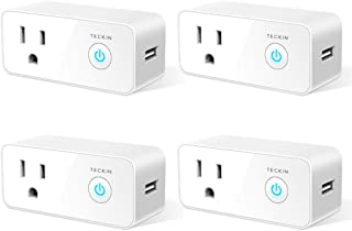 Smart Plug Wifi Outlet USB mini Socket Compatible with Alexa&Google Home, Schedule Timer Function Control Electric Allliances Devices, Prevent Overcharging 4 Pack